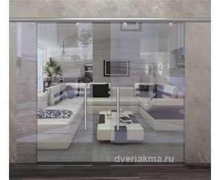 Раздвижная дверь из прозрачного стекла Аура