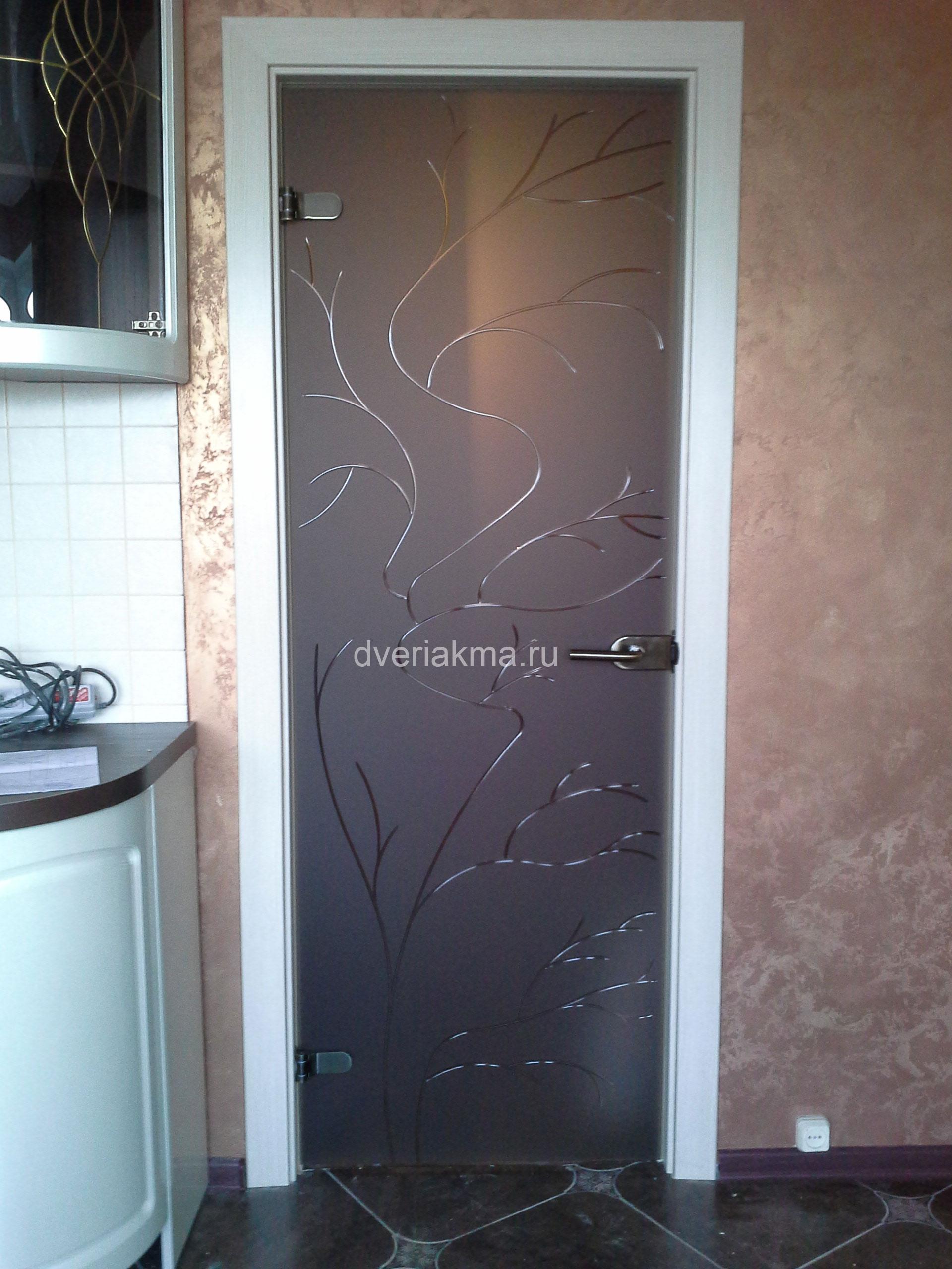 Стеклянная дверь для кухни бронза матовое